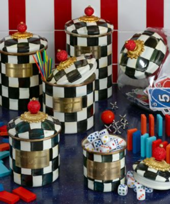 Courtly Check Enamel Two Tier Sweet Stand Set Image 1