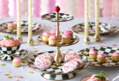 Courtly Check Enamel Two Tier Sweet Stand Set Image 2