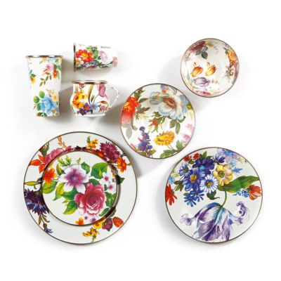 White Flower Market Dinnerware