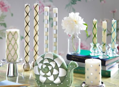 Bands Dinner Candles - Pearl - Set of 2 Set Image 0