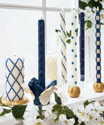 Bands Dinner Candles - Navy - Set of 2 Set Image 1