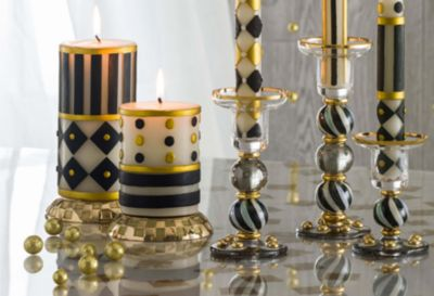 "Bands Pillar Candle - 6"" - Black & Ivory Set Image 2"