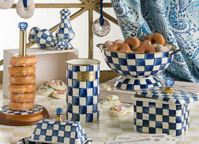 Royal Check Enamel Two Tier Sweet Stand Set Image 0