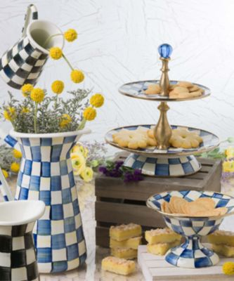 Royal Check Enamel Two Tier Sweet Stand Set Image 1