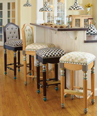 Courtly Check Underpinnings Bar Stool with Back Set Image 1