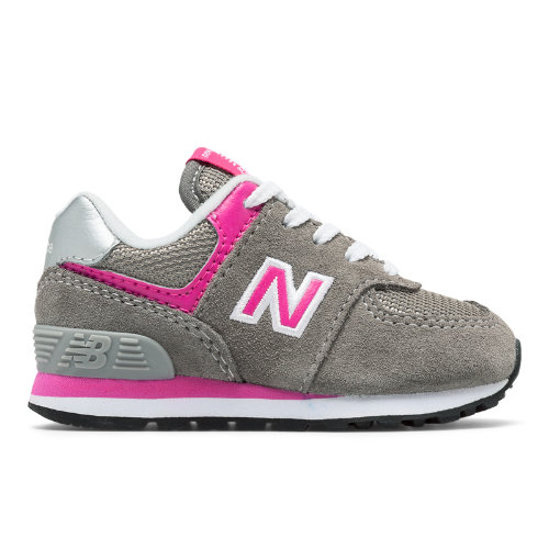 574 Core Kids' Infant and Toddler Lifestyle Shoes - Grey/Pink (IC574GP)