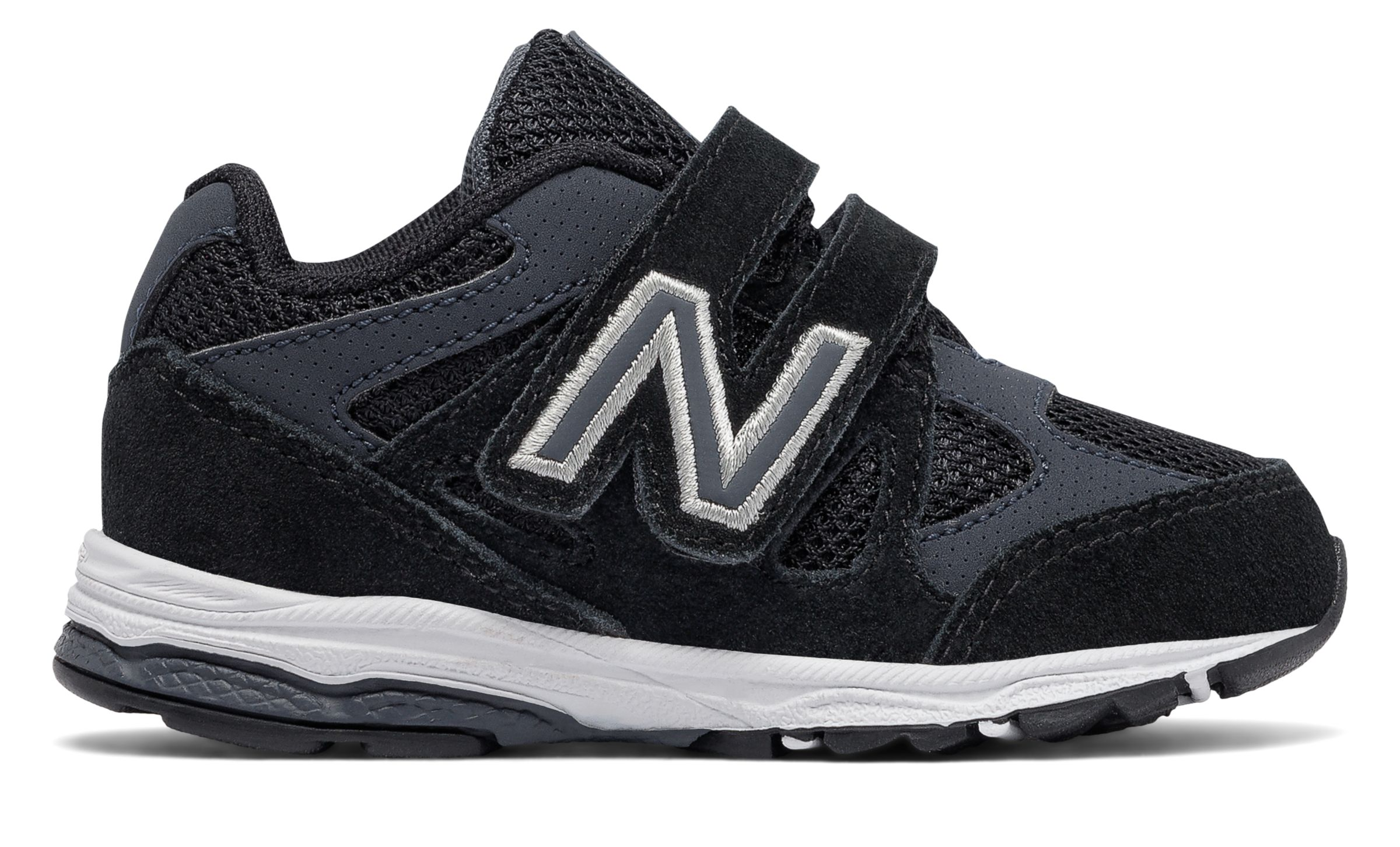 Details about New Balance Male Kid's Hook And Loop 888 Classic Comfort Sneaker Black With Grey