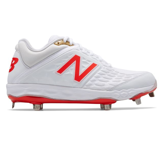 Low-Cut 3000v4 White Flame Metal Baseball Cleat