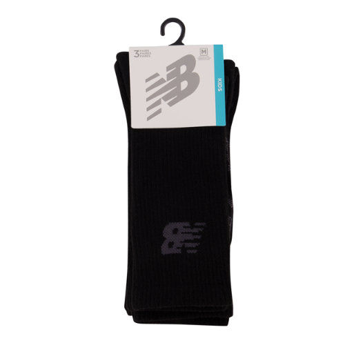 New Balance 67763 Kids' Kids Performance Crew Sock 3 Pair - Black (LAS67763BK)
