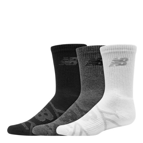 New Balance 67763 Kids' Kids Performance Crew Sock 3 Pair - Grey (LAS67763GML)