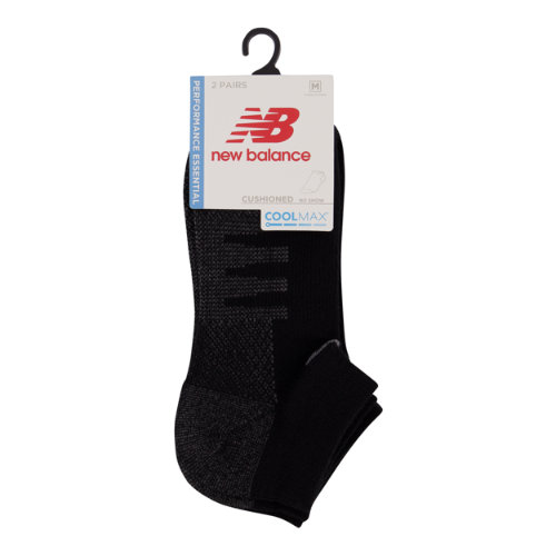 New Balance Men's & Women's Coolmax No Show Socks 2 Pair - Black (LAS70122BK)