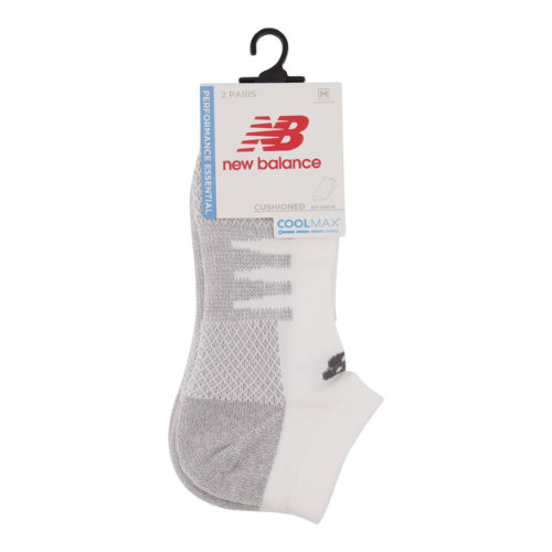 New Balance Men's & Women's Coolmax No Show Socks 2 Pair - White (LAS70122WT)