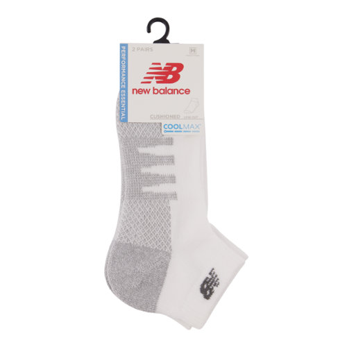 New Balance Men's & Women's Coolmax Low Cut Socks 2 Pair - White (LAS70272WT)