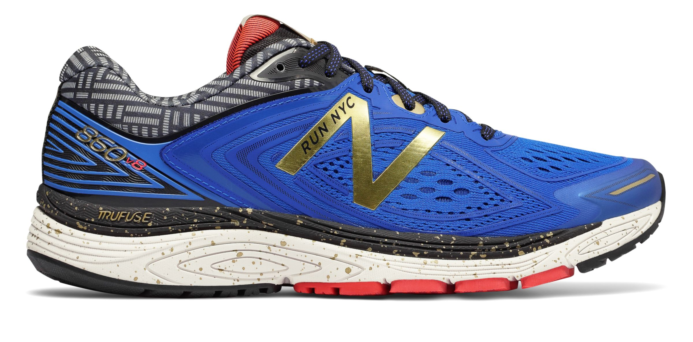 Details about New Balance Men's 860V8 Nyc Marathon Trufuse Midsole Shoes Blue With Gold