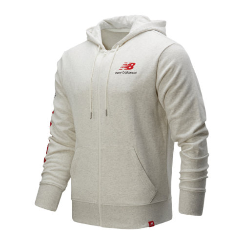 New Balance 01505 Men's Essentials Icon FZ Fleece Jacket - Off White (MJ01505SAH)