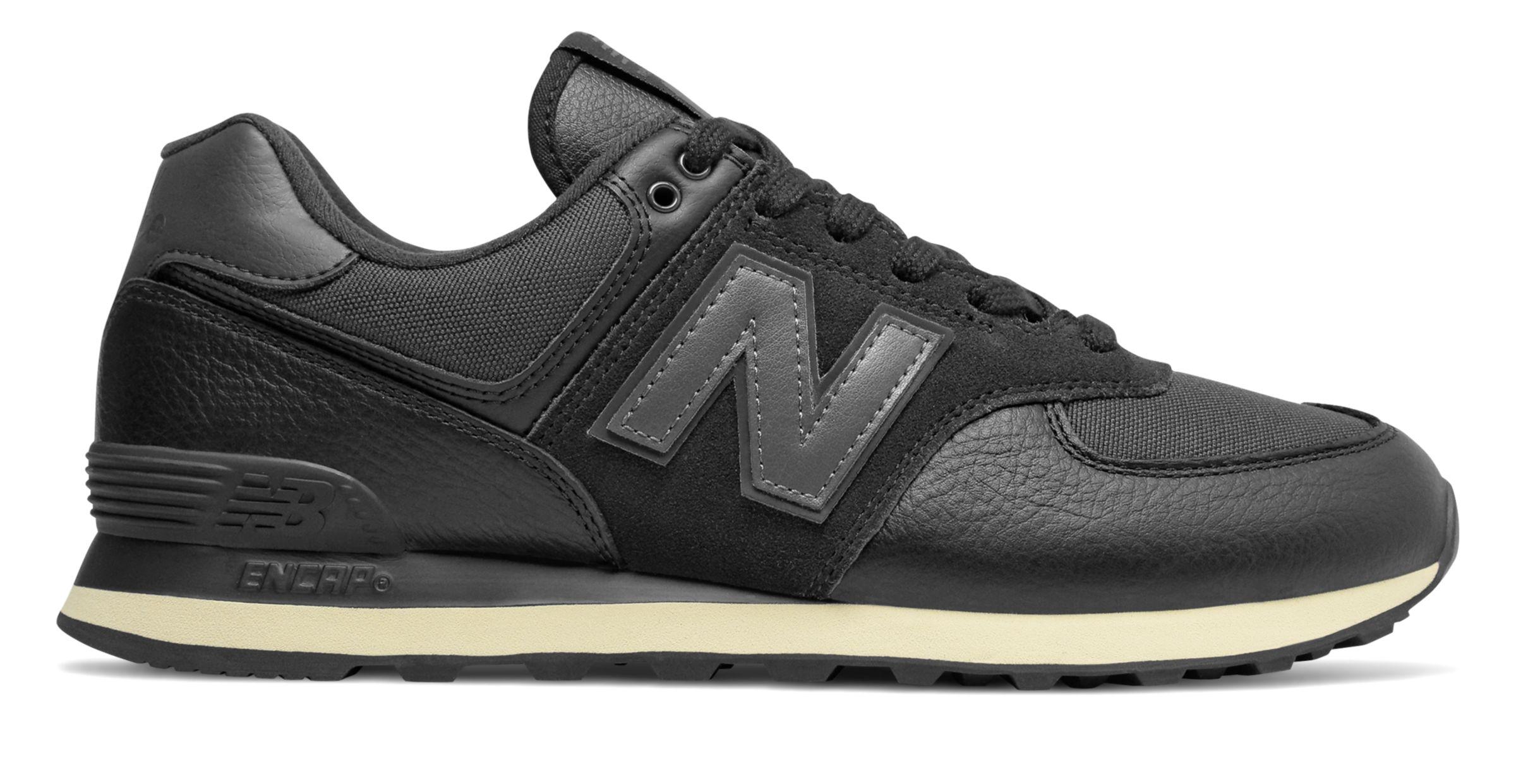 Men/'s Iconic 574 Black//Black Sneaker New Balance ML574LHF