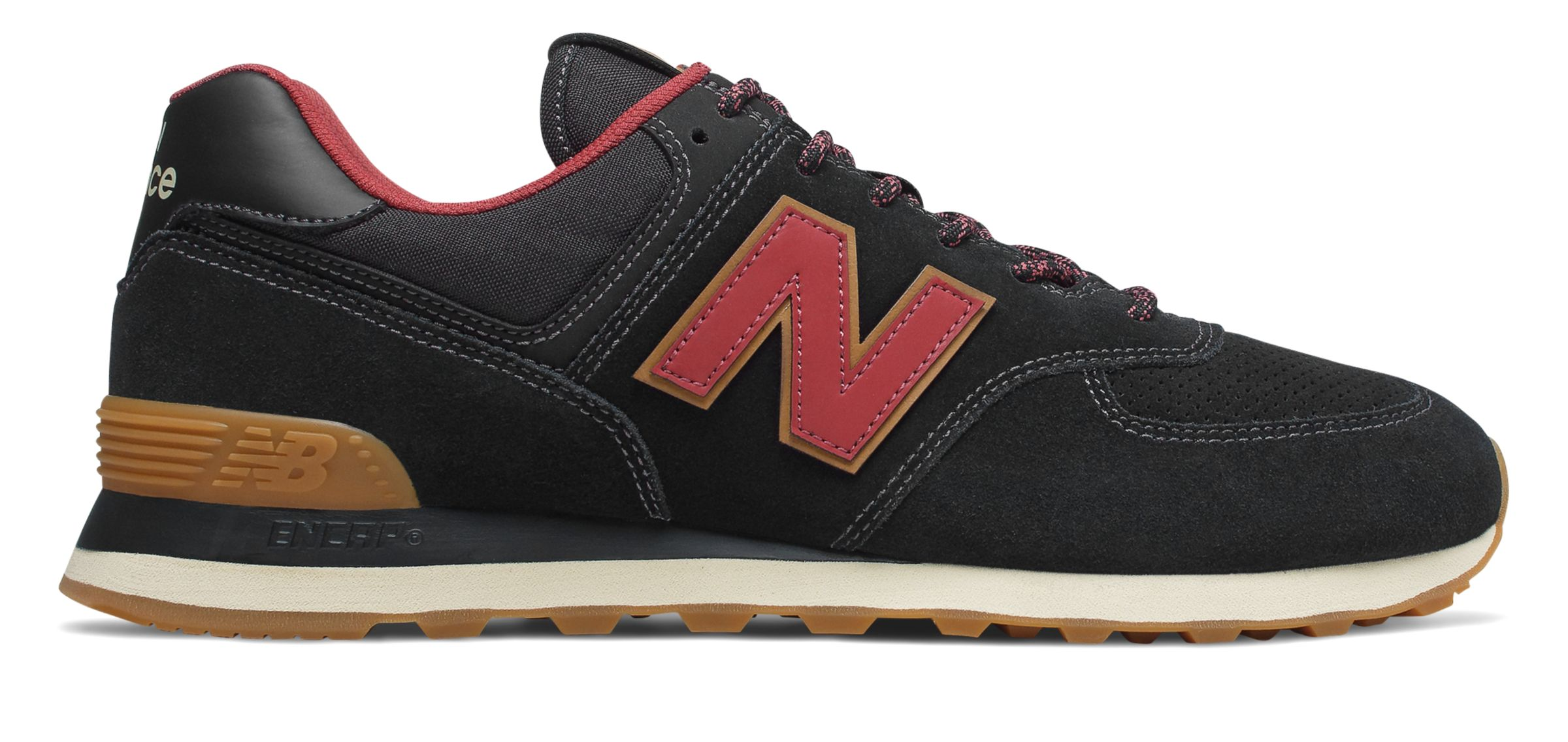 New Balance Men s 574 Shoes Black with Red   eBay 9e55c8d720f