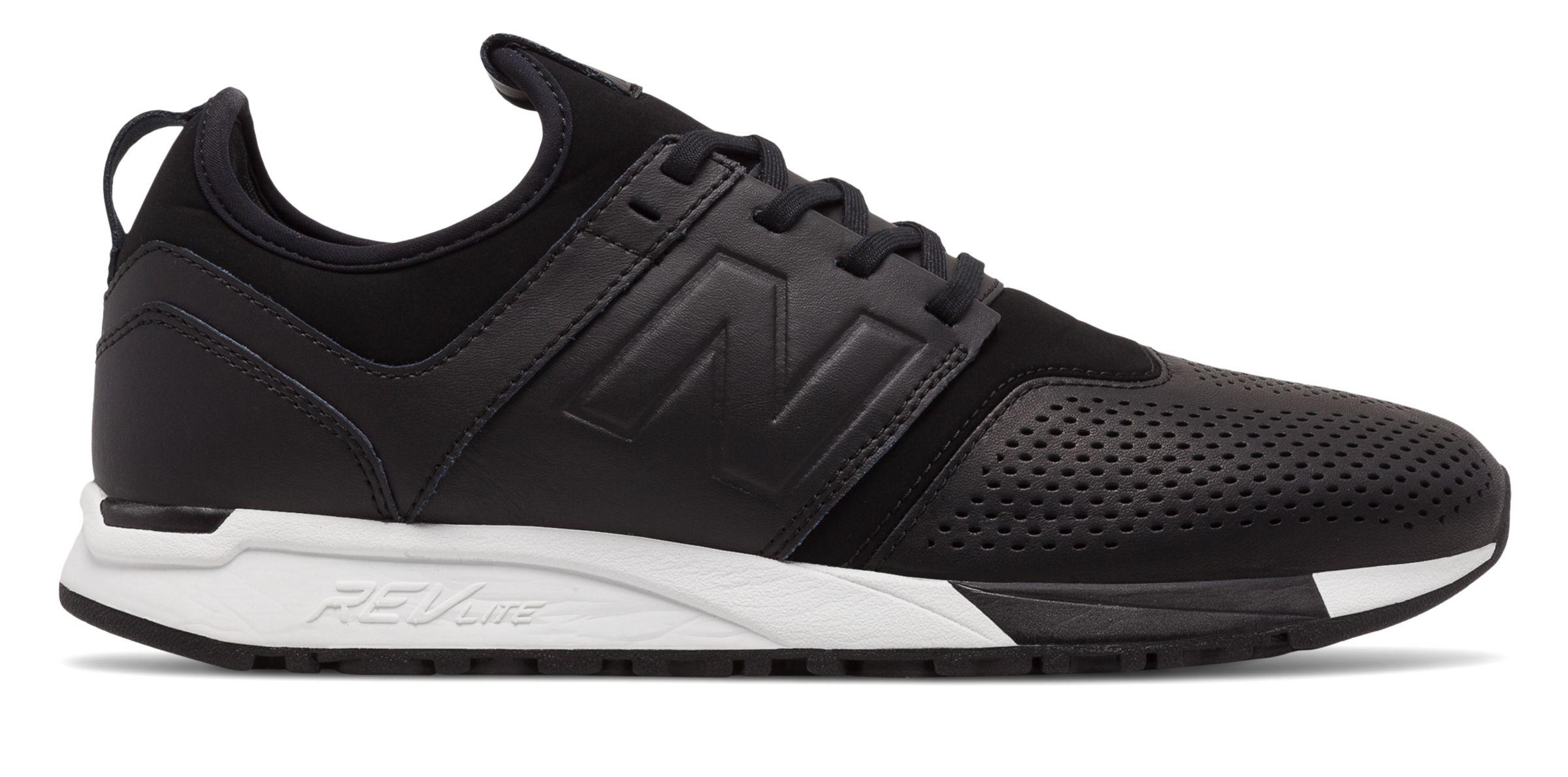 New Balance Men s 247 Leather Shoes Black with White  e208d5b49e
