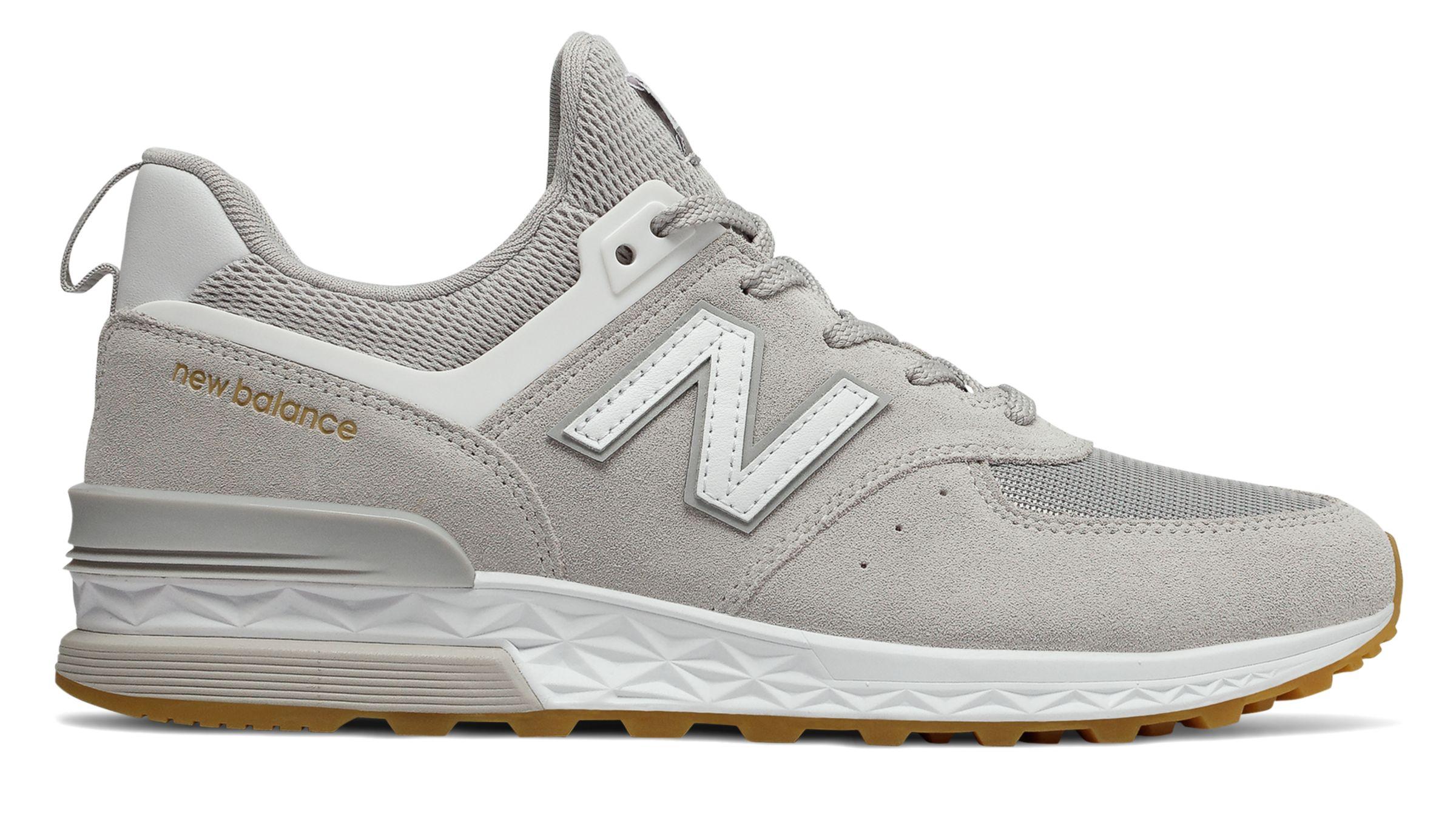 New Balance Men s 574 Sport Shoes Grey with White   eBay 1bee1b14c48