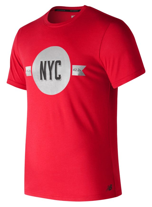 Men's NYC Marathon Heather Tech Short Sleeve