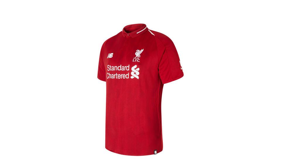 2f7ee94a0 New Balance LFC Mens Salah Home Short Sleeve EPL Patch Jersey Hombre ...