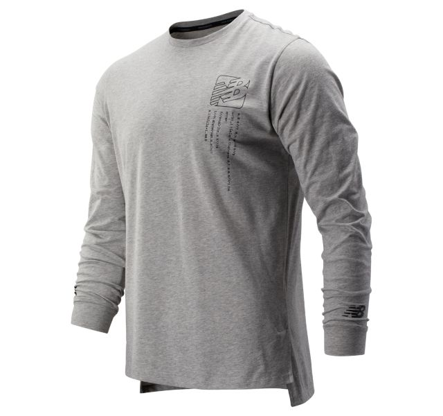 Men's Printed R.W.T. Long Sleeve Heather Tech Tee