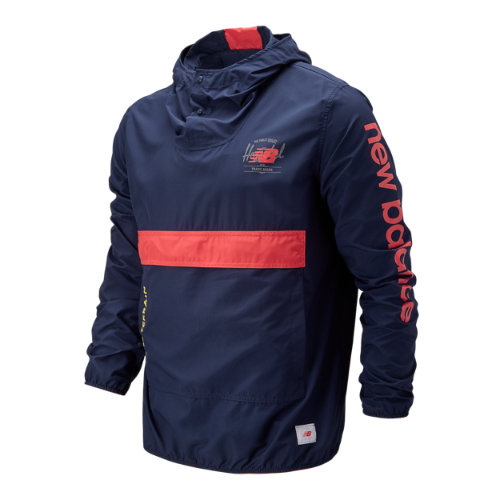 New Balance 93670 Men's Herschel Packable Anorak With Removable Hip Pack - Black/Red/Yellow (MT93670NIN)