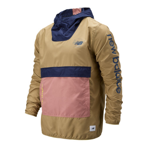 New Balance 93670 Men's Packable Anorak With Removable Hippack - Brown/Black/Orange (MT93670RCK)