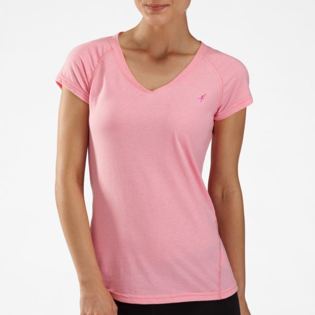 Womens Lace Up for the Cure Heather Short Sleeve