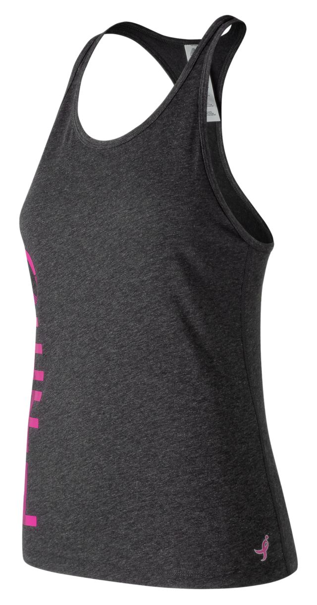 Women's Pink Ribbon Graphic Heather Tech Racerback