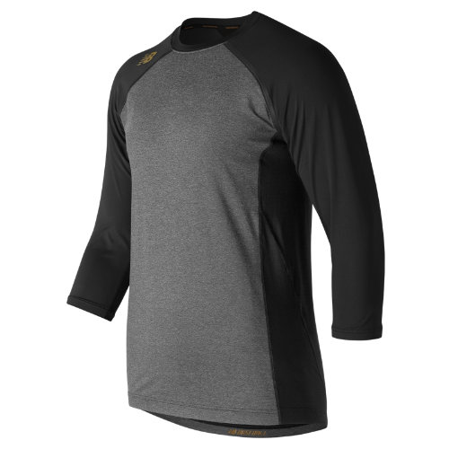 New Balance 650 Men's 3/4 Sleeve 4040 Bold and Gold Compression Top - Black (TMMT650BK)
