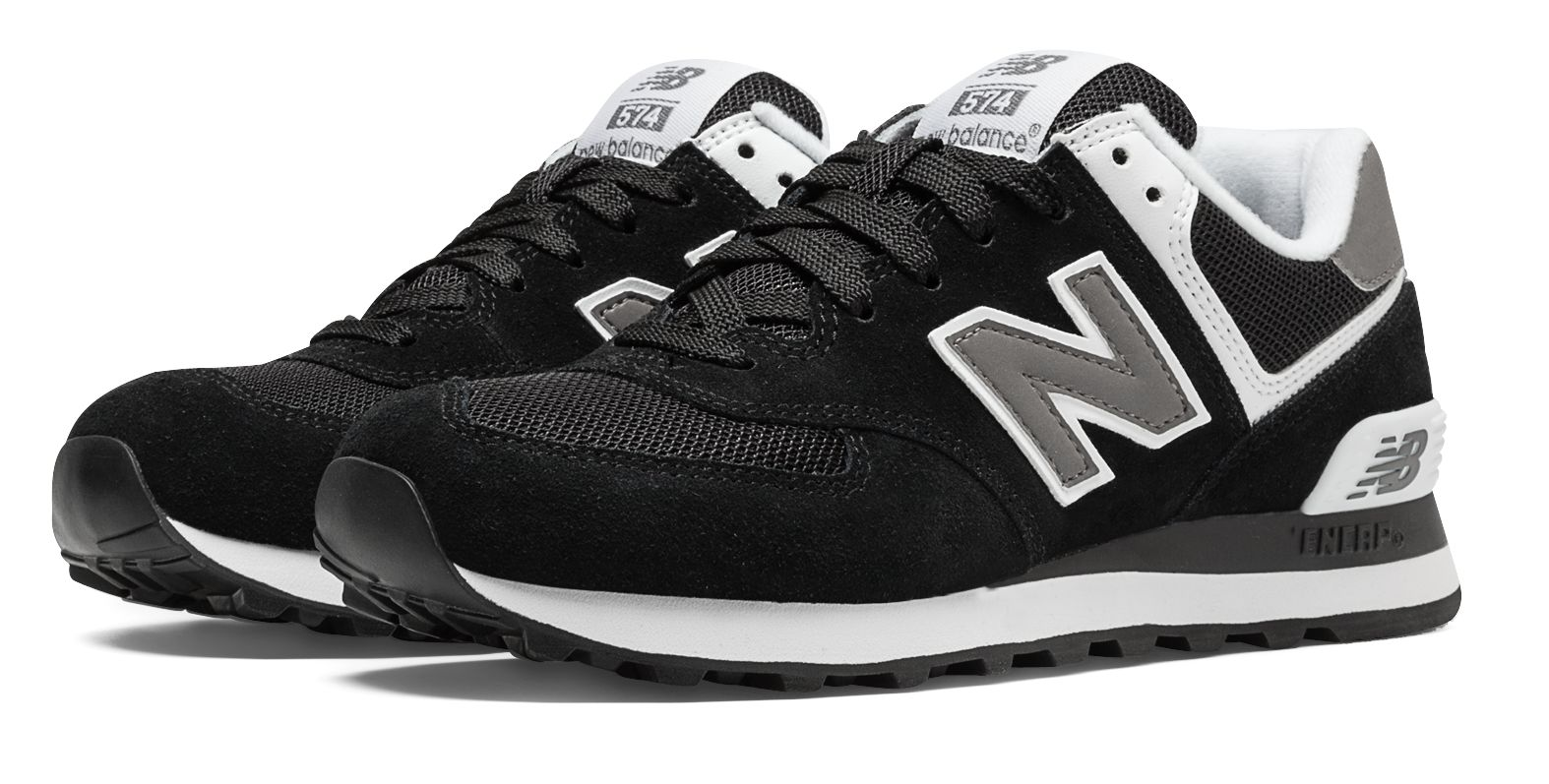 New Balance Women's 574 Core Shoes Black with White | eBay