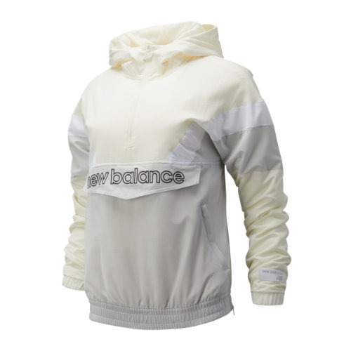 New Balance 93515 Women's NB Athletics Stadium Insulated Anorak - Off White/Grey/White (WJ93515SST)