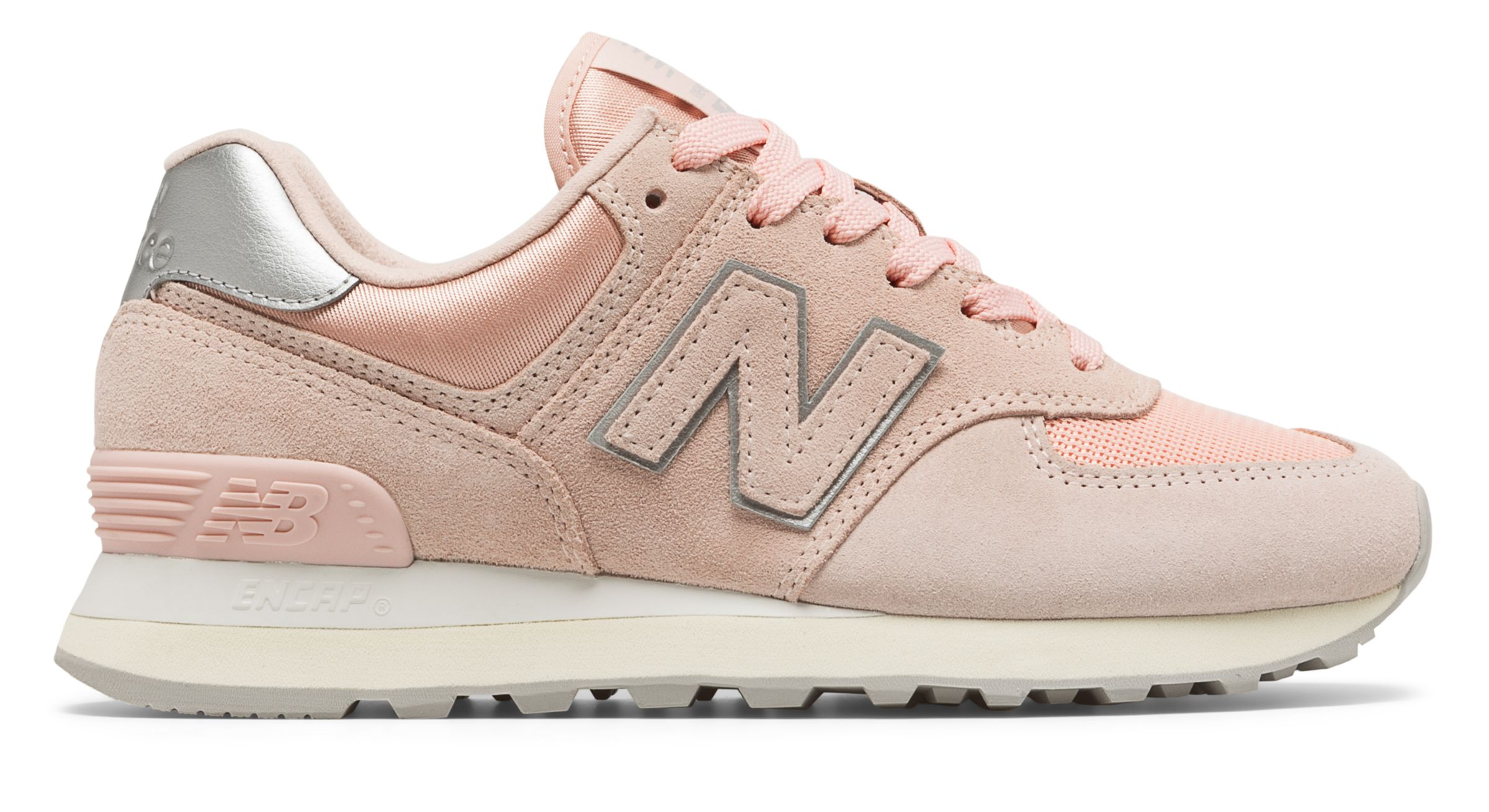 nouveaux styles 8c342 3d219 Details about New Balance Women's 574 Sateen Tab Shoes Pink With Silver