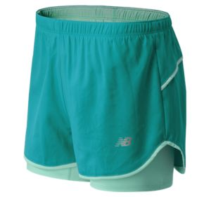 New Balance Women's Woven 2 in 1 Short (Teal)