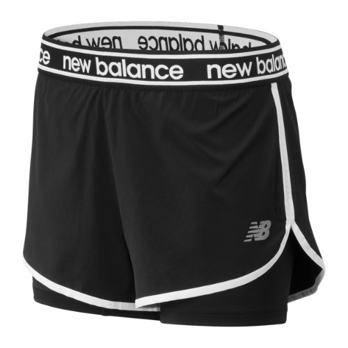 New Balance 93172 Women's Relentless 2 In 1 Short - Black (WS93172BK)