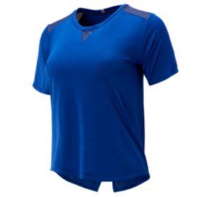 뉴발란스 우먼 임팩트 런 매쉬 반팔 티셔츠 - 블루 New Balance Womens Impact Run Mesh Short Sleeve, WT93270TBH