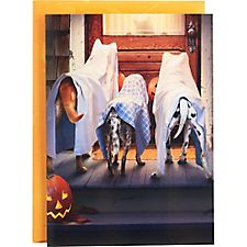 Ghost Dogs at Cat's Door Halloween Card