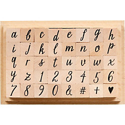 Casual Letters & Numbers Rubber Stamp Set