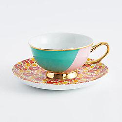 Teal Teacup & Floral Saucer