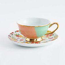 Mint Teacup & Floral Saucer