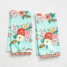 Mint Floral Tea Towels