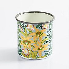Gray Floral Herb Pot
