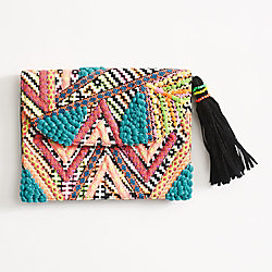Neon Embellished Clutch Purse