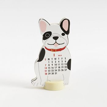 2018 French Bulldog Die Cut Calendar Paper Source