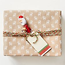White Glitter Reindeer on Kraft Gift Wrap