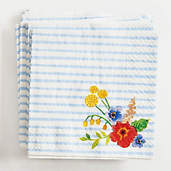 Floral Stripe Small Napkin