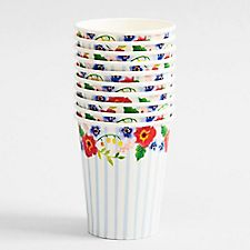 Floral Stripe Paper Cups