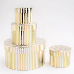 Round Gold Striped Gift Boxes