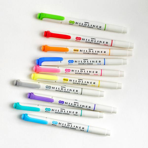 Zebra Mildliner doubled-ended creative markers featuring a unique mild color that shows up softly on paper for all hand lettering and highlighting applications.